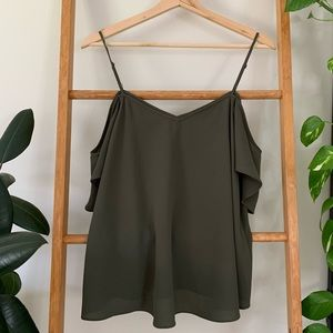 Forever New Dark Green Camisole Top With Sleeves